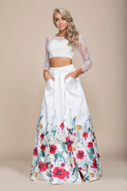 White Long Two-Piece Dress with Floral Print Skirt by Nox Anabel 8353-Long Formal Dresses-ABC Fashion