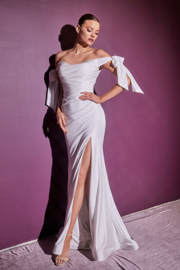 White Off Shoulder Gown by Cinderella Divine CD944W