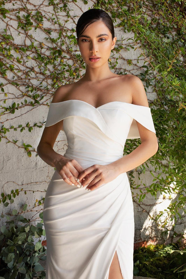 White Off Shoulder Jersey Gown by Cinderella Divine CD930