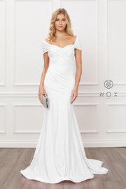 White Off Shoulder Mermaid Gown by Nox Anabel E497W