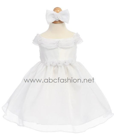 White Organza Baby Girl Dress with Rose Details - 7 Colors-Girls Formal Dresses-ABC Fashion