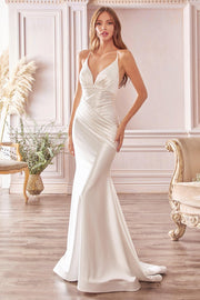 White Satin Mermaid Dress by Cinderella Divine CH236W