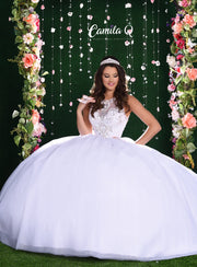 White Sleeveless Illusion Quinceanera Dress by Camila Q Q17020-Quinceanera Dresses-ABC Fashion