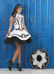 White/Black Off Shoulder Charro Dress by House of Wu LA Glitter 24050-Quinceanera Dresses-ABC Fashion