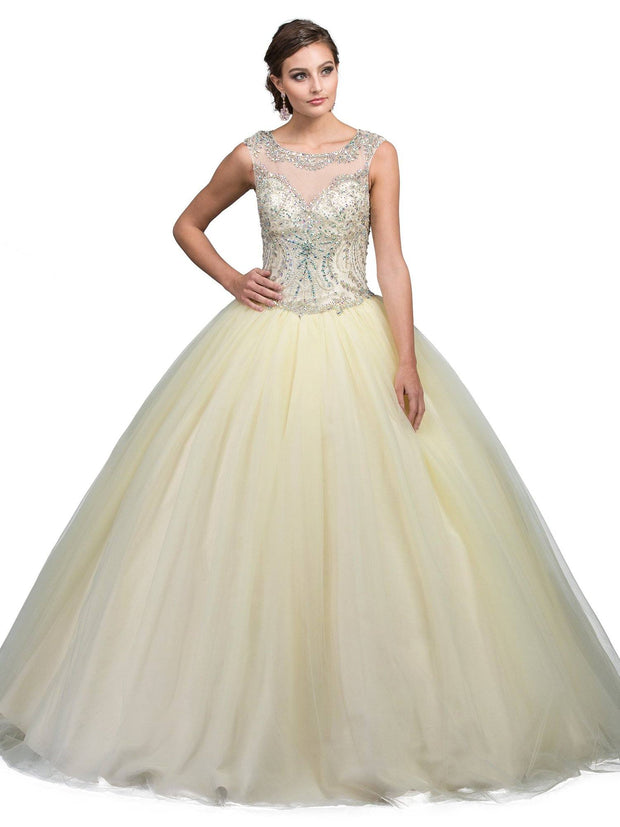 Yellow Jeweled Illusion Ball Gown by Dancing Queen 1240-Quinceanera Dresses-ABC Fashion
