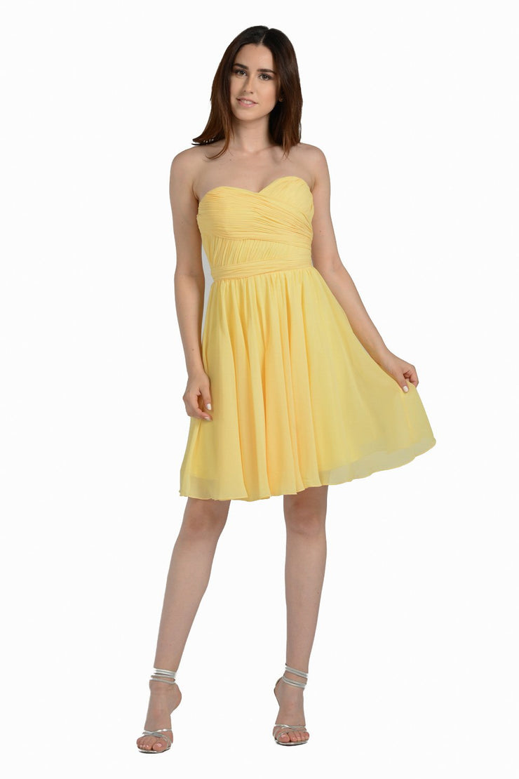 Ruched Short Strapless Sweetheart Dress