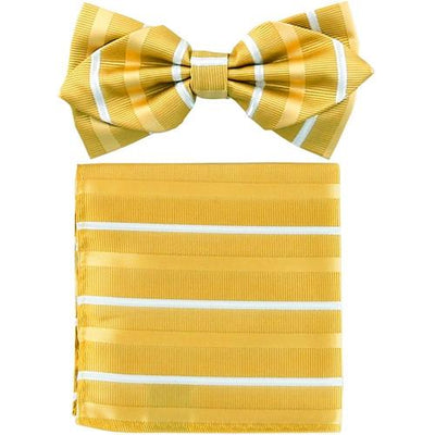 Yellow Striped Bow Tie with Pocket Square (Pointed Tip)-Men's Bow Ties-ABC Fashion