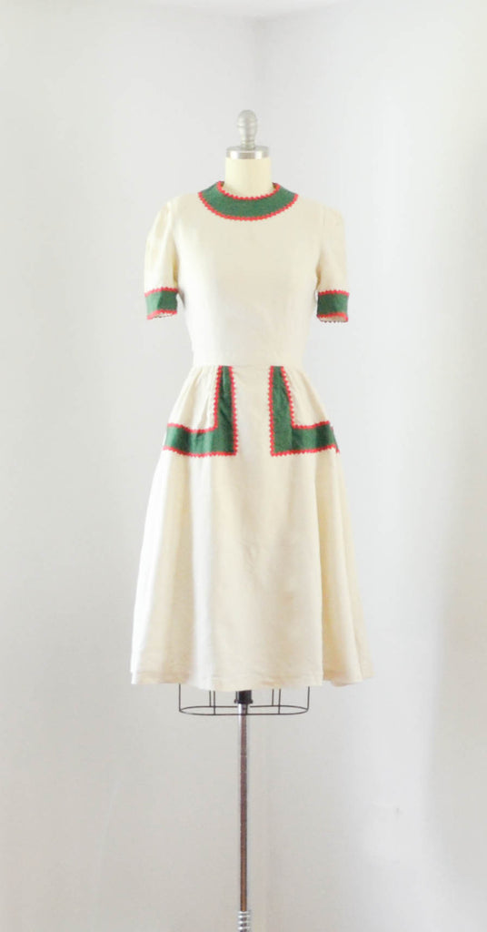 vintage 1940's linen color block dress ivory green red short sleeve 40s forties mid gingerbread 1930s 30s thirties concettas closet fashion style