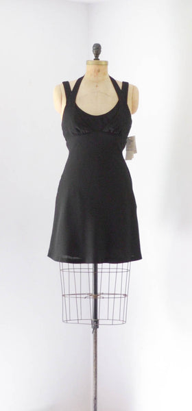 vintage 1990's designer Nicole Miller little black dress halter short racerback lbd small medium concettas closet 90s nineties grunge punk rock fashion style
