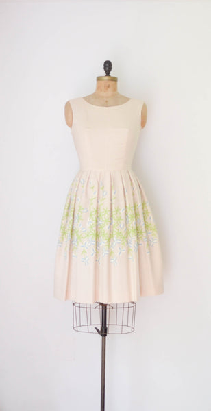 Vintage 1960's Embroidered Floral Dress