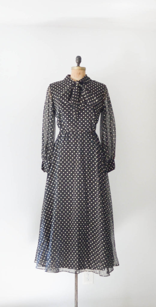 Vintage 1970's Sheer Polka Dot Dress