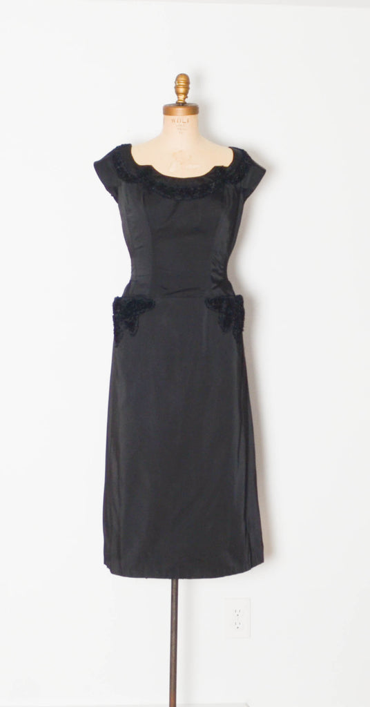 vintage 1960's emma domb cocktail dress lbd little black dress cap sleeve party holiday silk 1950s 50s fifties 60s sixties classic elegant timeless fashion style concettas closet medium 28 inch waist