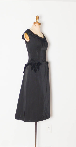 vintage 1960's emma domb cocktail dress lbd little black dress cap sleeve party holiday silk 1950s 50s fifties 60s sixties classic elegant timeless fashion style concettas closet medium 28 inch waist 1