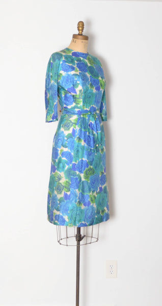 vintage 1960s blue silk rose print dress aqua green long sleeve large 32 inch waist 60s sixties 1950s 50s fifties iconic classic timeless feminine concettas closet 1