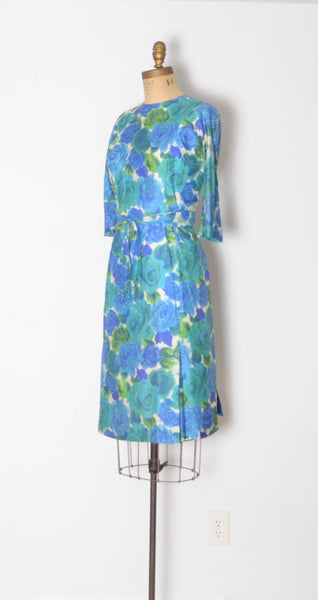 vintage 1960s blue silk rose print dress aqua green long sleeve large 32 inch waist 60s sixties 1950s 50s fifties iconic classic timeless feminine concettas closet 2