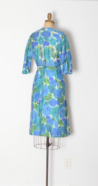 vintage 1960s blue silk rose print dress aqua green long sleeve large 32 inch waist 60s sixties 1950s 50s fifties iconic classic timeless feminine concettas closet 3
