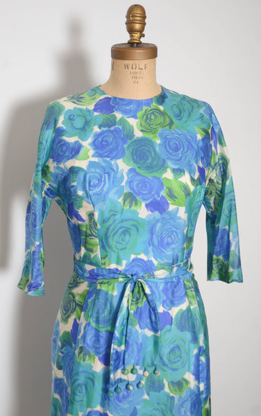 vintage 1960s blue silk rose print dress aqua green long sleeve large 32 inch waist 60s sixties 1950s 50s fifties iconic classic timeless feminine concettas closet 4