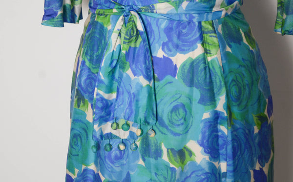 vintage 1960s blue silk rose print dress aqua green long sleeve large 32 inch waist 60s sixties 1950s 50s fifties iconic classic timeless feminine concettas closet 5