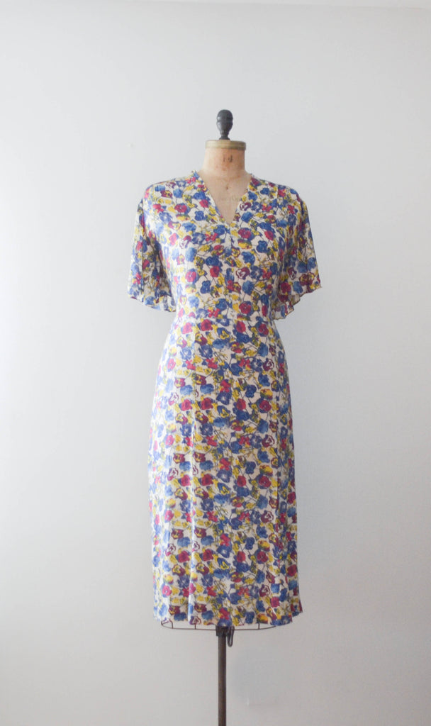 vintage 1940's floral rayon print dress 40s forties 1930s 30s art deco medium large concettas closet fashion style