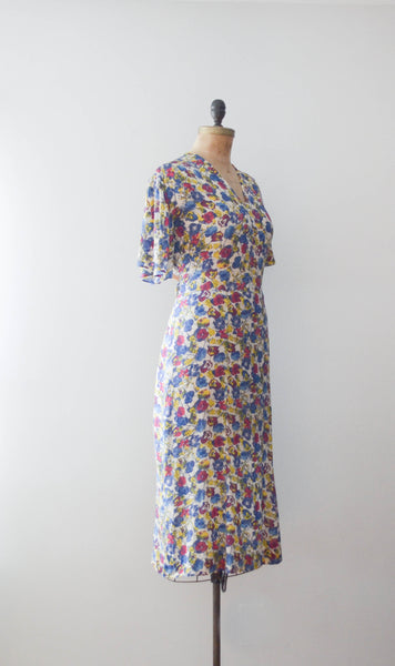 vintage 1940's floral rayon print dress 40s forties 1930s 30s art deco medium large concettas closet fashion style 2