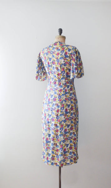 vintage 1940's floral rayon print dress 40s forties 1930s 30s art deco medium large concettas closet fashion style 4