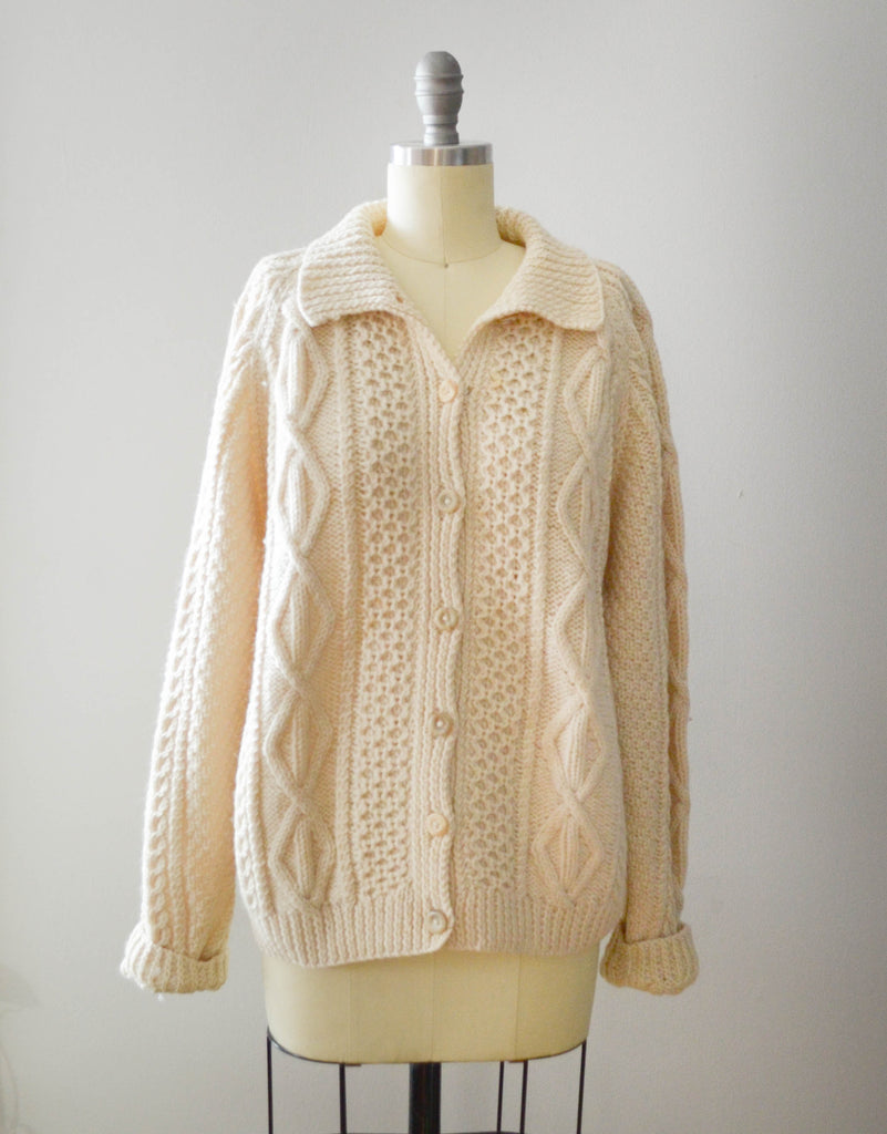 Vintage 1970's Wool Fisherman's Cardigan Sweater