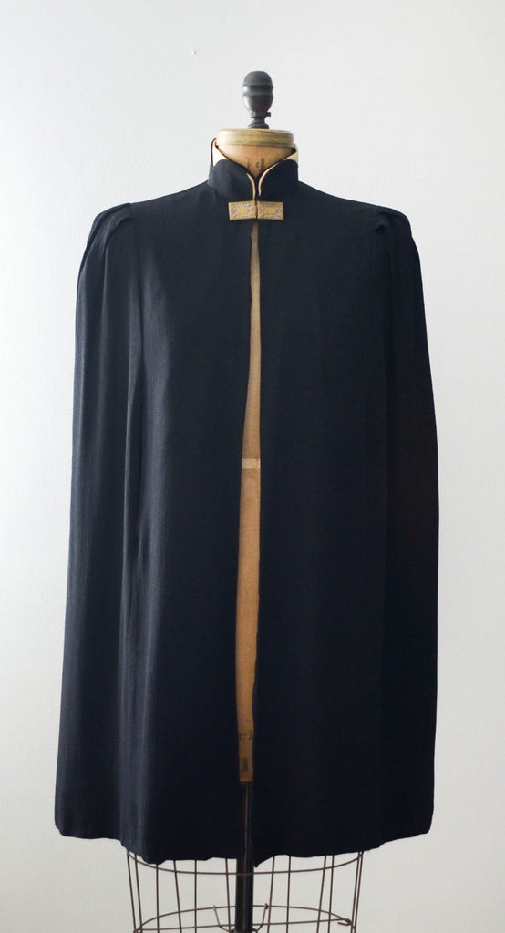 vintage 1930's black cape cloak art deco rayon goth small medium 30s thirties concettas closet fashion style cape