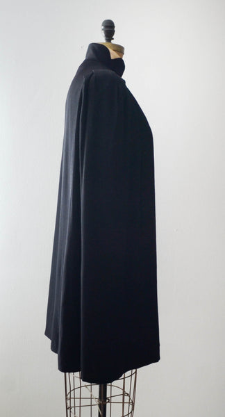 vintage 1930's black cape cloak art deco rayon goth small medium 30s thirties concettas closet fashion style cape 1
