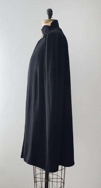 vintage 1930's black cape cloak art deco rayon goth small medium 30s thirties concettas closet fashion style cape 3