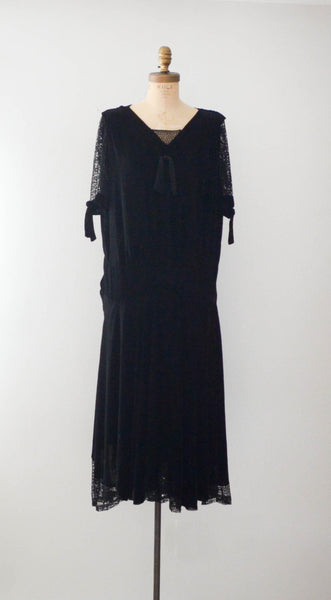 vintage 1920's black silk velvet fishnet dress goth gothic size  medium large flapper concettas closet fashion style timeless antique clothing