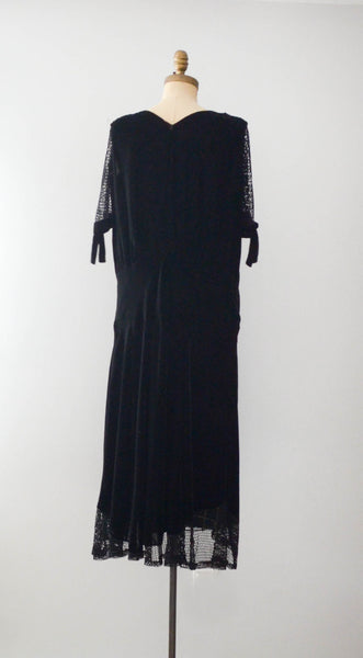 vintage 1920's black silk velvet fishnet dress goth gothic size  medium large flapper concettas closet fashion style timeless antique clothing 2