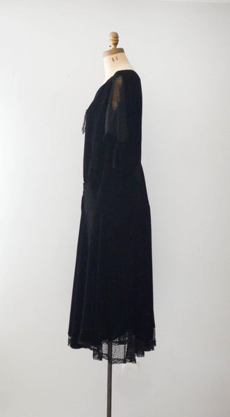 vintage 1920's black silk velvet fishnet dress goth gothic size  medium large flapper concettas closet fashion style timeless antique clothing 3