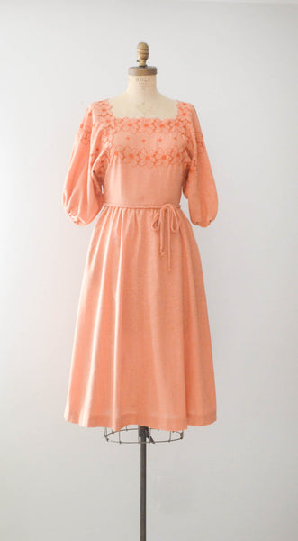 Vintage 1970's Peach Gauze Dress