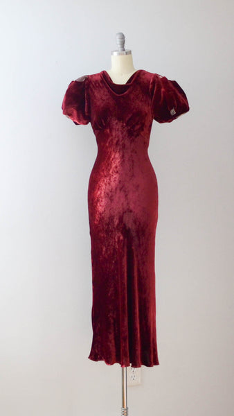 Vintage 1930's Cranberry Silk Velvet Dress