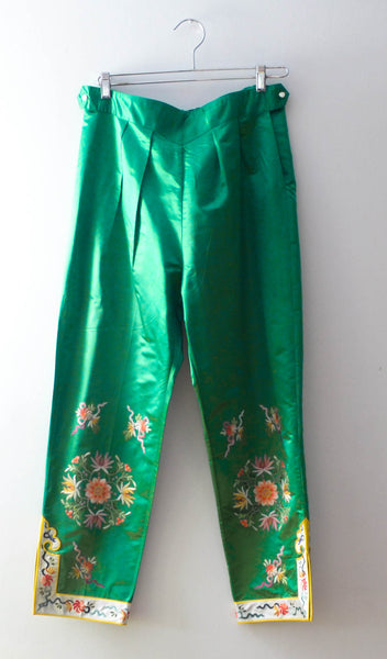 Vintage 1960's Asian Silk Embroidered Pants