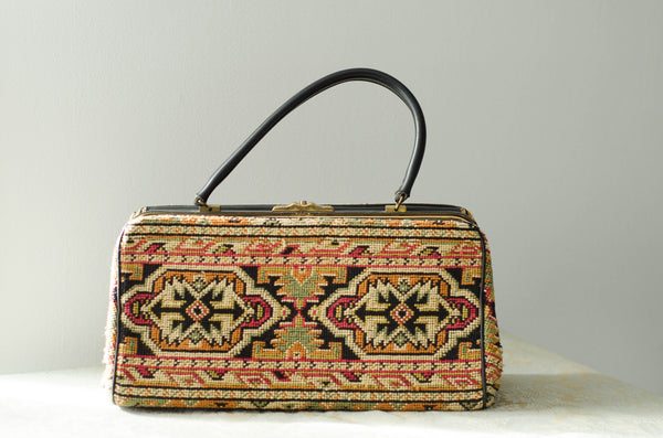 vintage 1960s Caucasian kazak style woven carpet bag purse rectangle pocketbook handbag 60s sixties turkish classic fashion style concettas closet