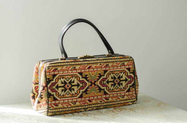 vintage 1960s Caucasian kazak style woven carpet bag purse rectangle pocketbook handbag 60s sixties turkish cla2ssic fashion style concettas closet