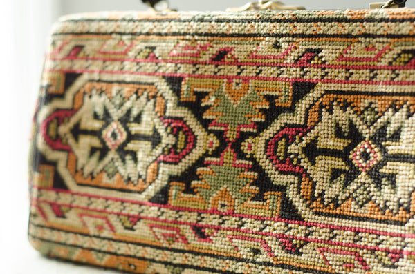 vintage 1960s Caucasian kazak style woven carpet bag purse rectangle pocketbook handbag 60s sixties turkish classic fashion style concettas closet 5