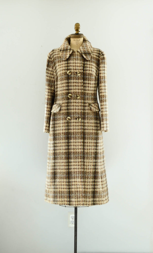 vintage 1970's plaid wool tweed coat long small medium brown pink blue winter fall fashion preppy college 70s seventies concettas closet