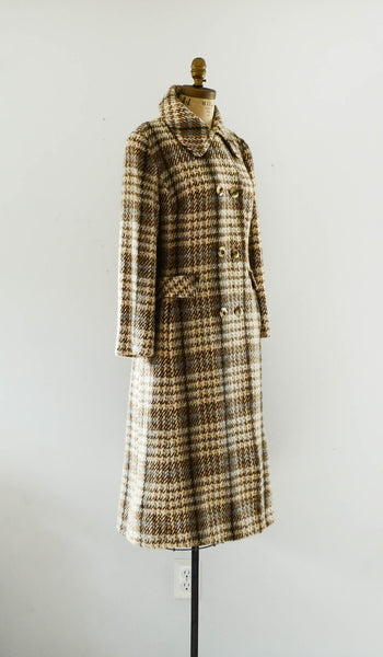 vintage 1970's plaid wool tweed coat long small medium brown pink blue winter fall fashion preppy college 70s seventies concettas closet 1