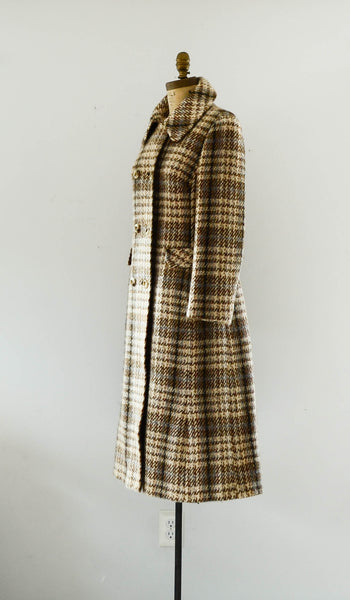 vintage 1970's plaid wool tweed coat long small medium brown pink blue winter fall fashion preppy college 70s seventies concettas closet 2