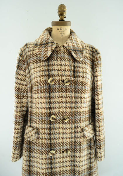 vintage 1970's plaid wool tweed coat long small medium brown pink blue winter fall fashion preppy college 70s seventies concettas closet 4
