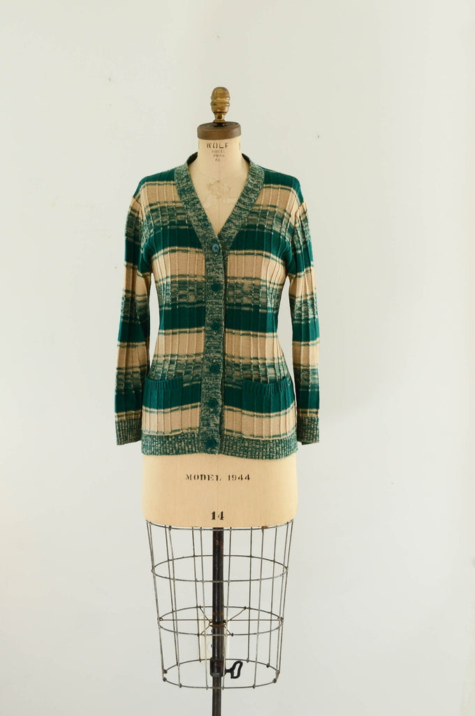 vintage 1970s green striped sweater cardigan knit space dye 70s seventies fashion style concettas closet medium