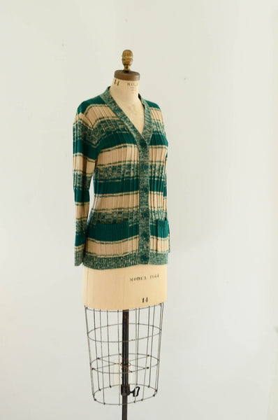 vintage 1970s green striped sweater cardigan knit space dye 70s seventies fashion style concettas closet medium 1