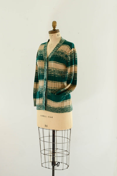 vintage 1970s green striped sweater cardigan knit space dye 70s seventies fashion style concettas closet medium 2