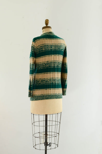 vintage 1970s green striped sweater cardigan knit space dye 70s seventies fashion style concettas closet medium 3