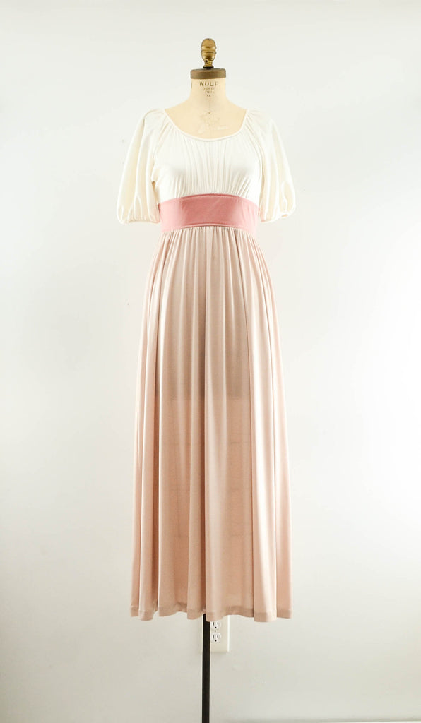 Vintage 1970's blush rose gold color block long maxi dress summer spring fashion style 70s seventies nude neutral extra small XS concettas closet