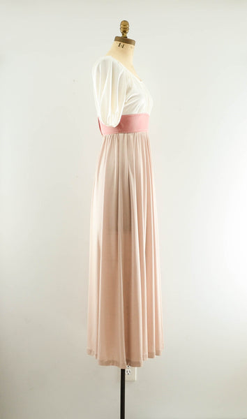 Vintage 1970's blush rose gold color block long maxi dress summer spring fashion style 70s seventies nude neutral extra small XS concettas closet 1