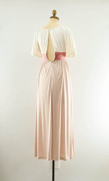 Vintage 1970's blush rose gold color block long maxi dress summer spring fashion style 70s seventies nude neutral extra small XS concettas closet 3