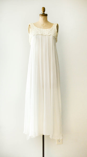 vintage 1970s chiffon ivory wedding dress flowers floral sleeveless extra small XS 1960s 60s sixties 70s seventies bohemian boho hippie gown bride bridal concettas closet fashion style